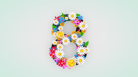 Numerical digit floral animation, 8 Animation
