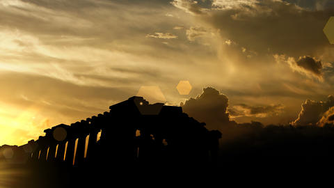 The Parthenon, Greece over sunset, 3d animation Animation
