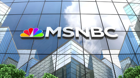 May 2019, Editorial use only, MSNBC logo on glass building Animation