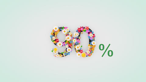 Numerical digit floral animation, 90 percent Animation