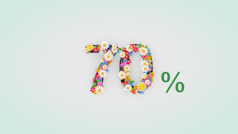 Numerical digit floral animation, 70 percent Animation