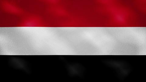 Yemen dense flag fabric wavers, background loop Animation