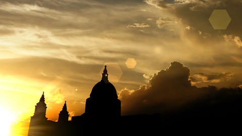 St Pauls Cathedral, London over sunset 3d animation Animation