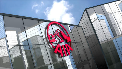 May 2019, Editorial use only, AIA Group Limited logo on glass building Animation