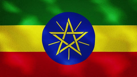Ethiopia dense flag fabric wavers, background loop Videos animados
