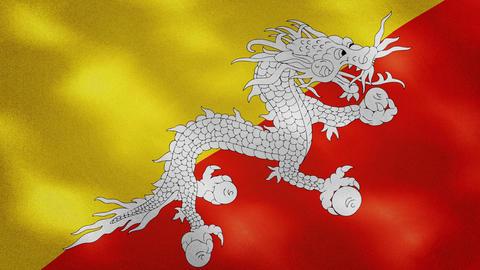 Bhutanese dense flag fabric wavers, background loop Animation