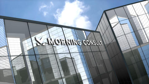 May 2019, Editorial use only, Morning Consult logo on glass building Animation