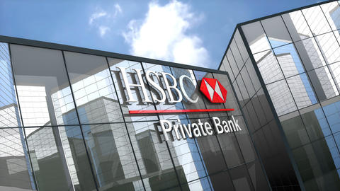 May 2019, Editorial use only, HSBC Private Banking Holdings S.A. logo on glass building Animation