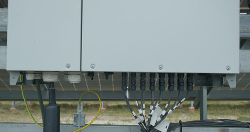 Close up of a back panel of a solar panel, transformer, 4k Live Action