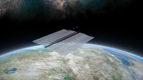 Artist concept space solar farm above earth Animation