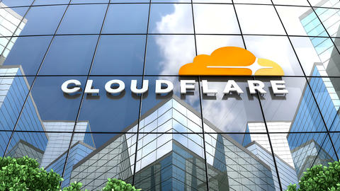 May 2019, Editorial use only, Cloudflare logo on glass building Animation