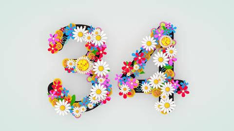 Numerical digit floral animation, 34 Animation