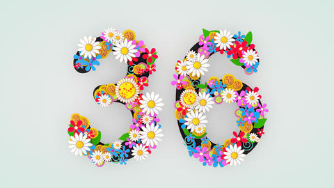 Numerical digit floral animation, 36 Animation