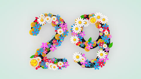 Numerical digit floral animation, 29 Animation