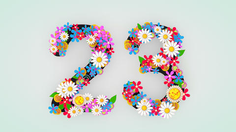 Numerical digit floral animation, 23 Animation