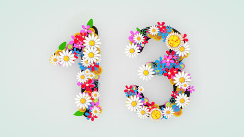 Numerical digit floral animation, 13 Animation