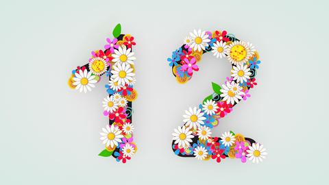 Numerical digit floral animation, 12 Animation