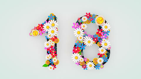 Numerical digit floral animation, 18 Animation