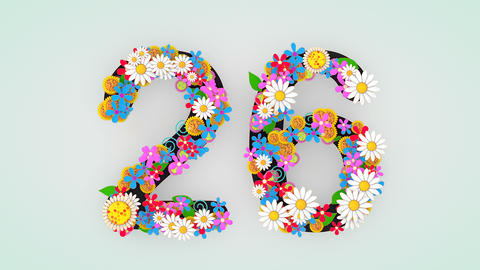 Numerical digit floral animation, 26 Animation