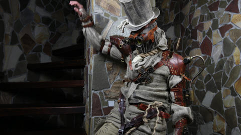 Futuristic character cyborg stalker. Art Photography in steampunk style 4K Live Action