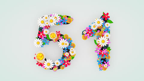 Numerical digit floral animation, 51 Animation