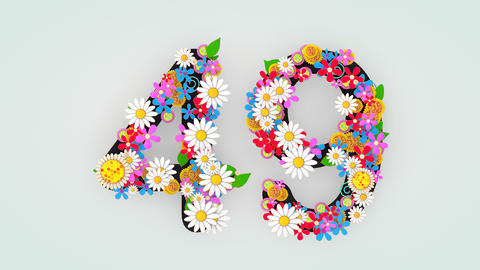 Numerical digit floral animation, 49 Animation