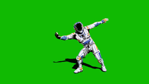 Astronaut-soldier of the future, dancing in front of a green screen. Realistic animation Animation