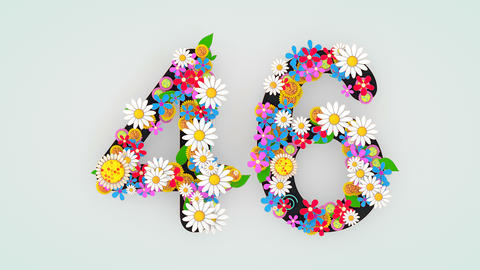 Numerical digit floral animation, 46 Animation