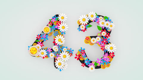 Numerical digit floral animation, 43 Animation