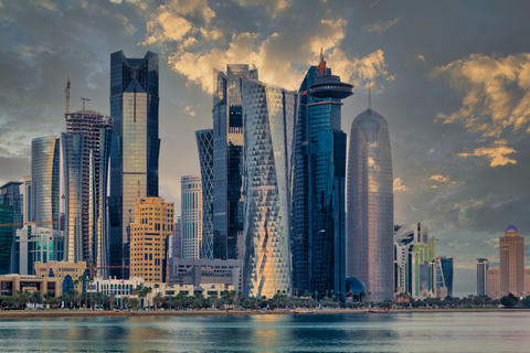 Doha Qatar skyline sunset view showing financial district in West Bay フォト