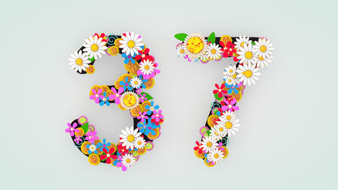 Numerical digit floral animation, 37 Animation