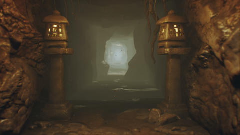 Ancient huge fantasy cave filled with ancient artifacts and magical fog with fireflies. Looped Animation