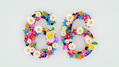 Numerical digit floral animation, 66 Animation