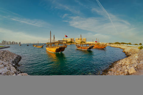 Traditional wooden boats dhow in Qatar daylight view Fotografía