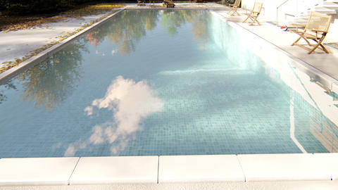 The camera flies past the pool in autumn on a clear Sunny day Animation