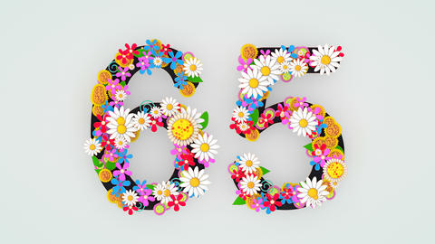 Numerical digit floral animation, 65 Animation