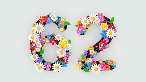 Numerical digit floral animation, 62 Animation