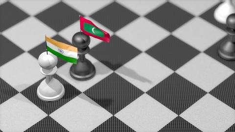 Chess Pawn with country flag, India, Maldives Animation