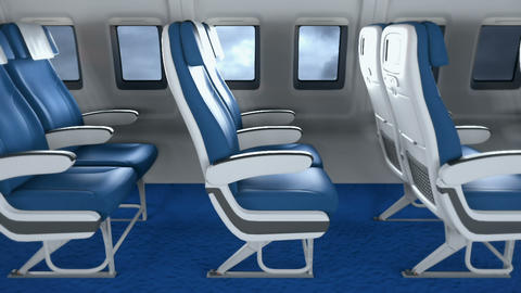 Empty airplane seats in modern airplane interior. Interior of modern airplane with passengers on Animation