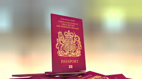 Artist rendering United Kingdom travel passport Animation