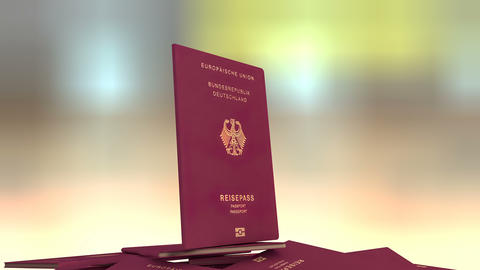 Artist rendering Germany travel passport Animation