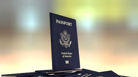 Artist rendering United States of America travel passport Animation