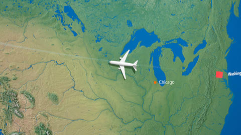 Air travel flying route destination, United States Japan Animation