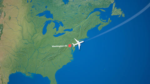 Air travel flying route destination, United States United Kingdom Animation