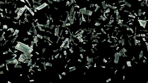 Flying dollar bills in fast motion with alpha channel. Digital animated background with dollar bills Animation