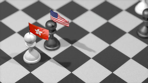 Chess Pawn with country flag, Hong Kong, United States Animation