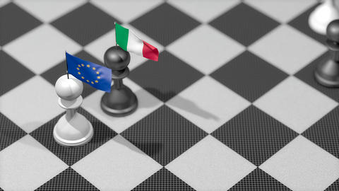 Chess Pawn with country flag, European Union, Italy Animation