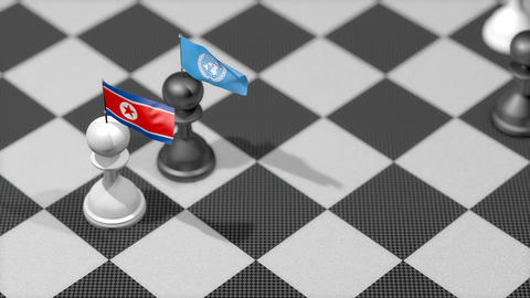 Chess Pawn with country flag, North Korea, United Nation Animation