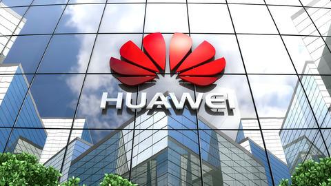 Editorial, Huawei Technologies Co., Ltd. logo on glass building Animation