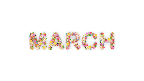 Floral calendar month text animation, March Animation